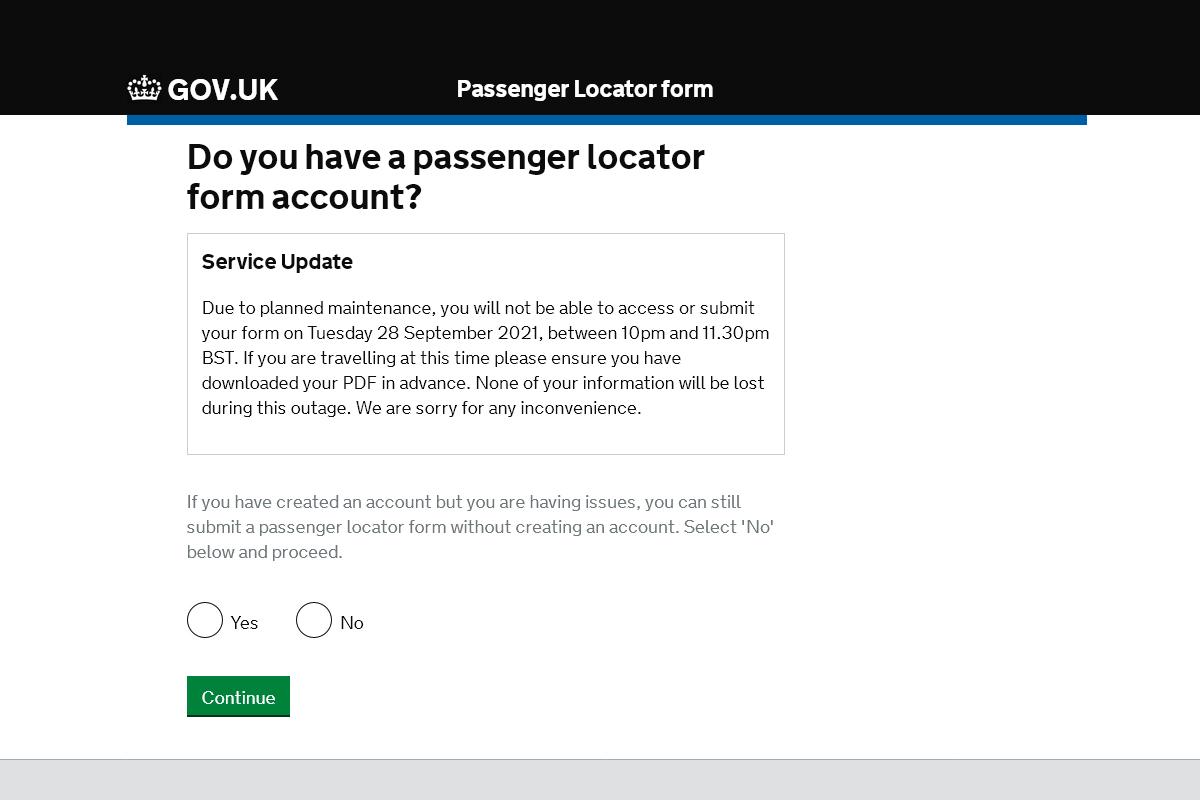 Passenger Locator Form